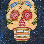 "El Pescador Sugar Skull, Acrylic on Canvas, 12"" x 16"""