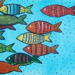 "Many Fish, Acrylic on Canvas, 12"" x 6"""
