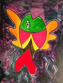 Day 118: Fish Joe Ray Style in Acrylic and Sharpie on Watercolor Paper