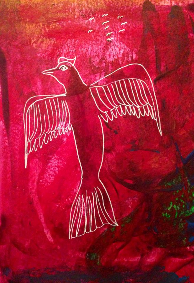 Day 133: Bird in Acrylic and Gel Pen on Watercolor Paper