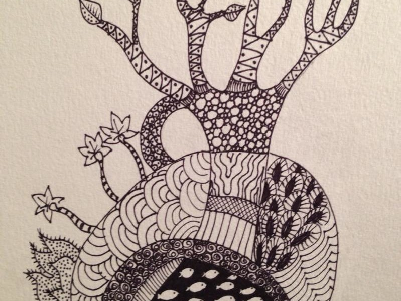 Day 136: Doodle Tree in Sharpie on Watercolor Paper