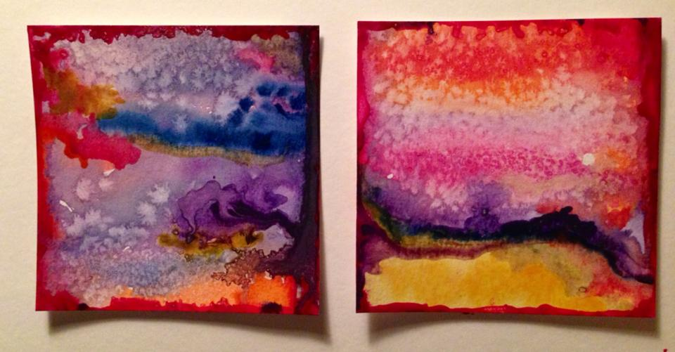 Day 137: Abstract Diptych in Watercolor and Salt on Watercolor Paper