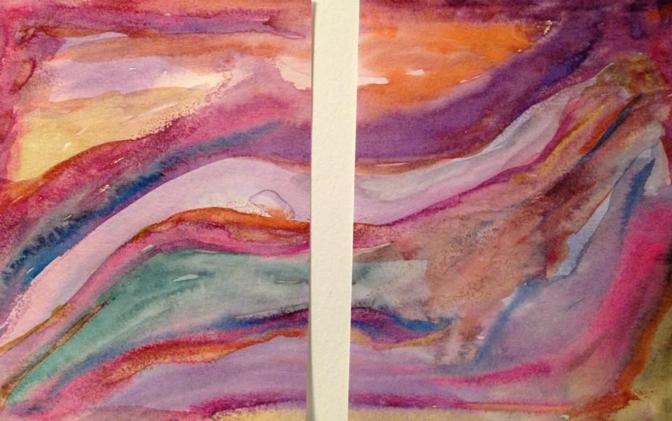 Day 144: Abstract Diptych in Watercolor on Watercolor Paper