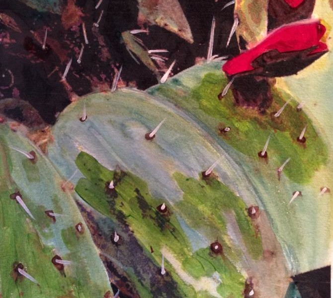 Day 145: Cactus in Acrylic and Watercolor on Watercolor Paper