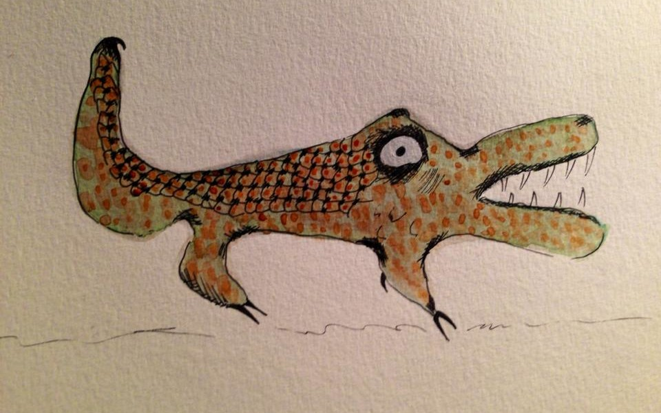 Day 146: Abstract Alligator in Watercolor and Sharpie on Watercolor Paper