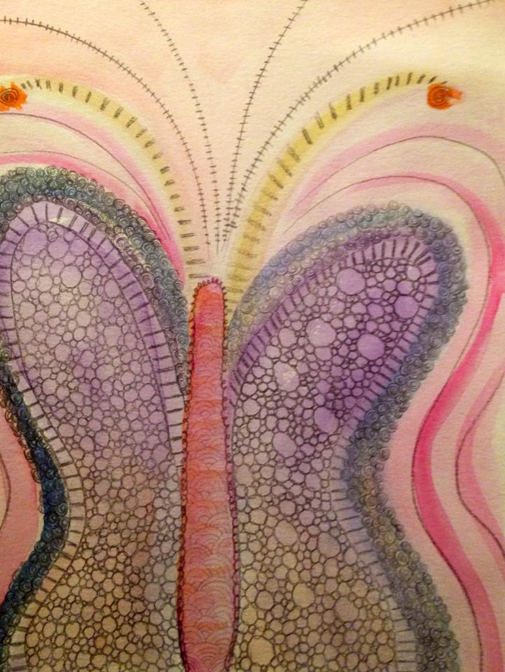 Day 147: Butterfly Doodle in Watercolor and Pencil on Watercolor Paper