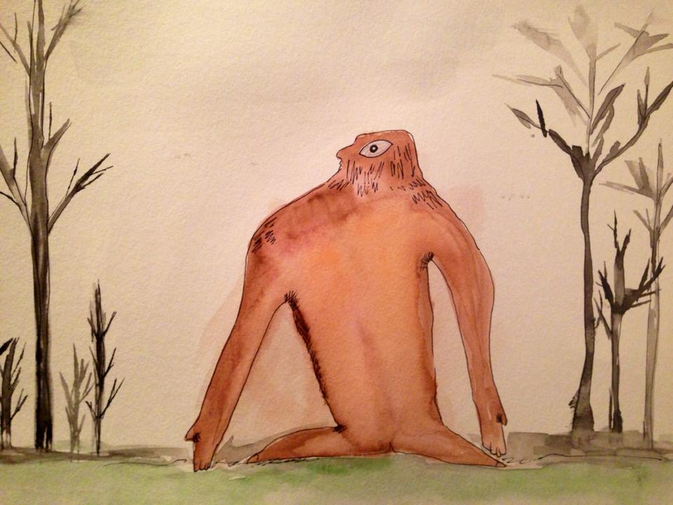 Day 148: Big Foot in Watercolor and Sharpie on Watercolor Paper