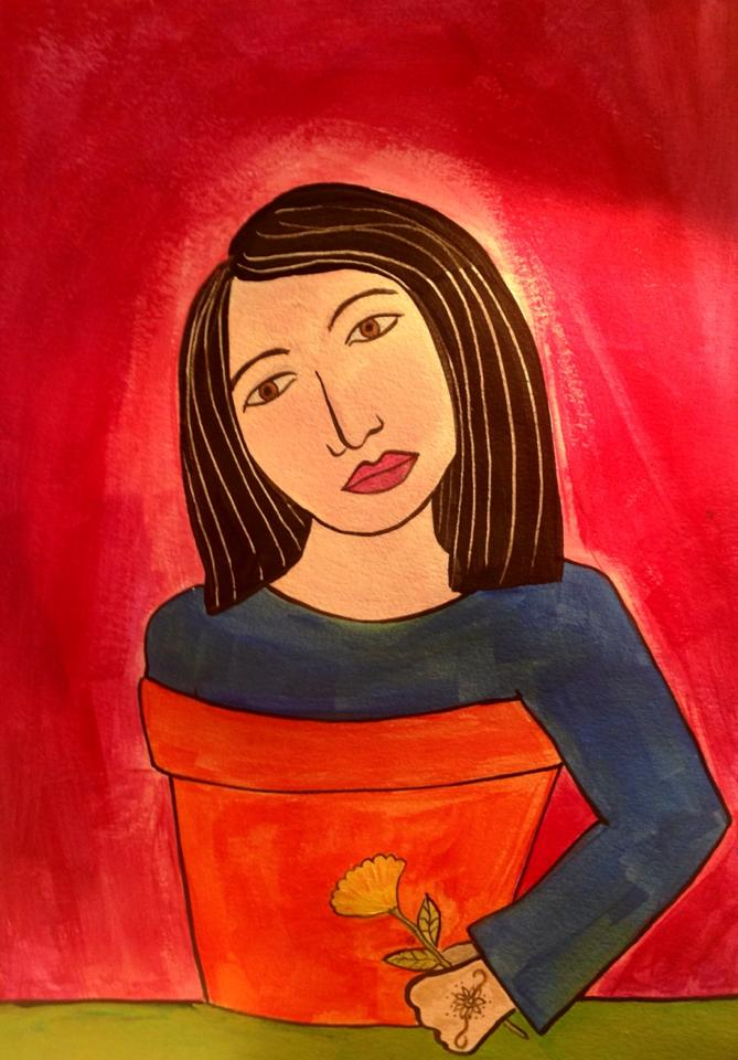 Day 149: Flower Pot Girl in Acrylic on Watercolor Paper