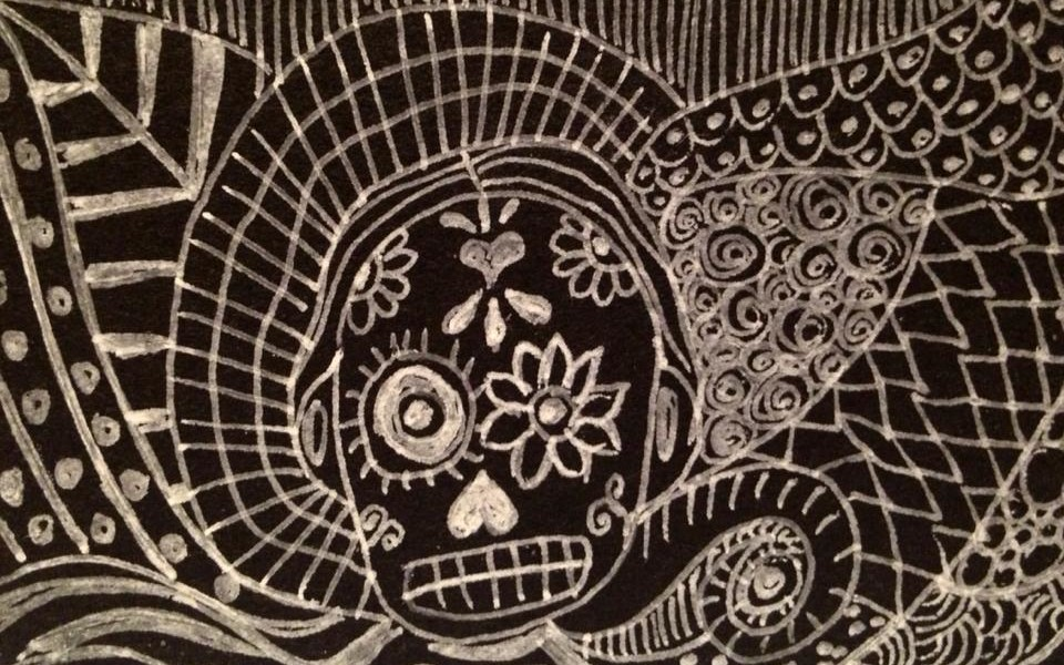 Day 150: Sugar Skull Zentangle in Gel Pen on Black Zentangle Paper