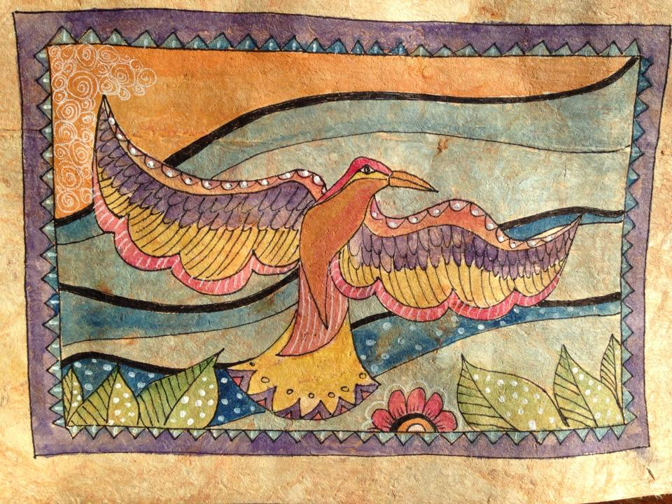 Day 160: Bird in Watercolor, Acrylic and Sharpie on Amate Paper