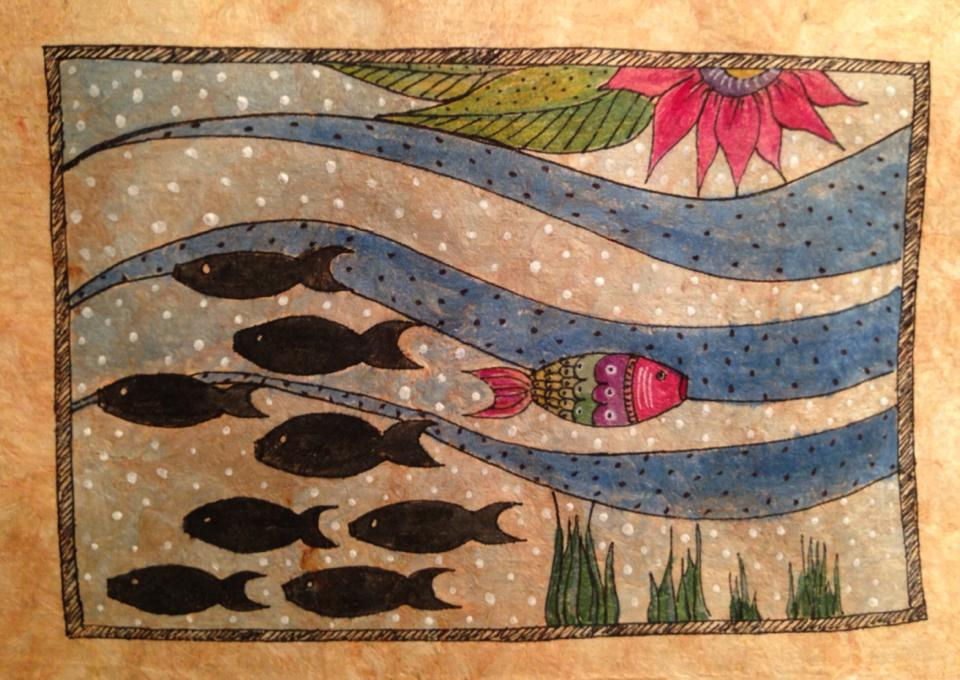 Day 161: Dare To Be Different Fish in Watercolor, Acrylic and Sharpie on Watercolor Paper