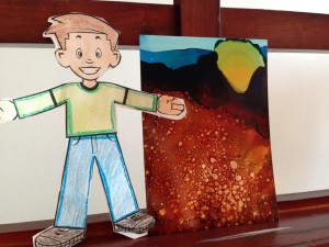 Day 163: Sunrise with Flat Stanley in Alcohol Ink on Yupo Paper