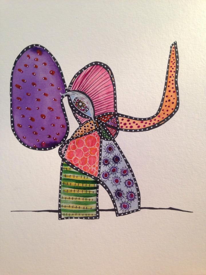 Day 165: Abstract Elephant in Sharpie, Watercolor, Acrylic and White Gel Pen on Watercolor Paper