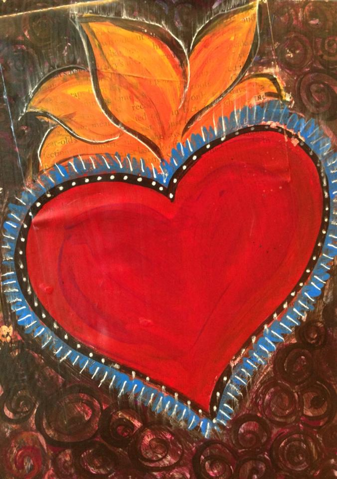 Day 166: Mi Corazon Mixed Media on Watercolor Paper