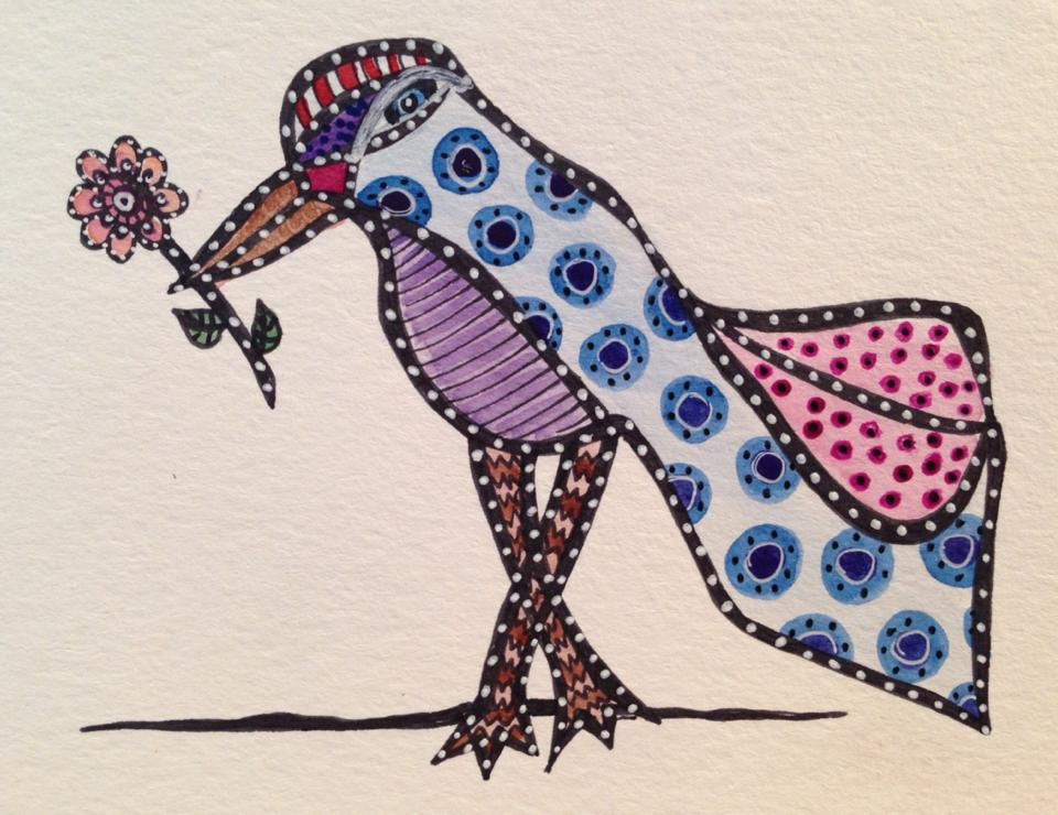 Day 168: Spotted Bird in Watercolor and Sharpie on Watercolor Paper