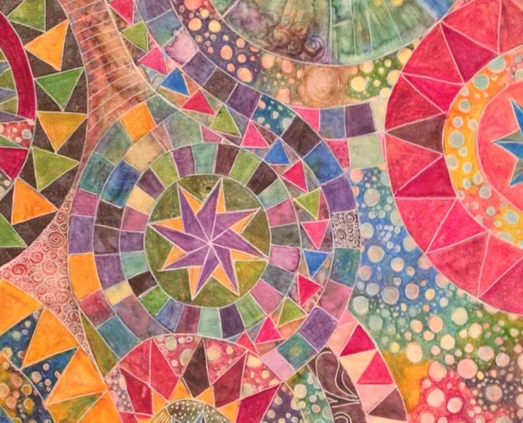 Day 171: Beyond the Patchwork in Acrylic on Watercolor Paper