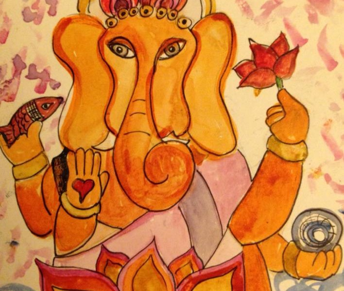 Day 174: Ganesha in Watercolor and Sharpie on Watercolor Paper