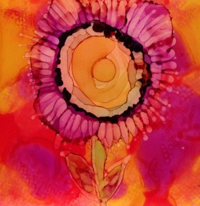 Day 178: Three Flowers in Alcohol Ink on Yupo Paper