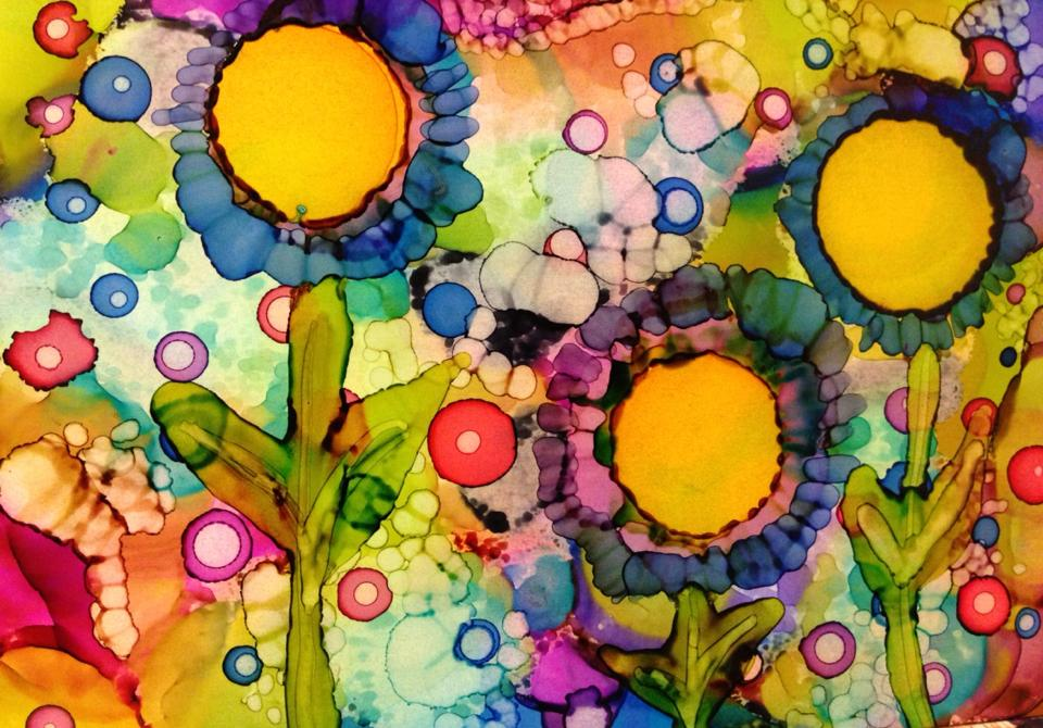 Day 181: Happy Flowers in Alcohol Ink on Yupo Paper