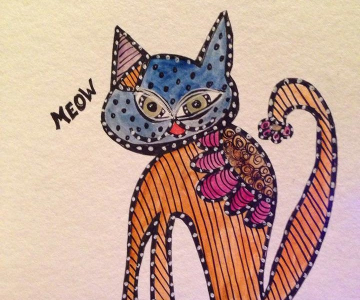 Day 182: Meow in Watercolor and Sharpie on Watercolor Paper