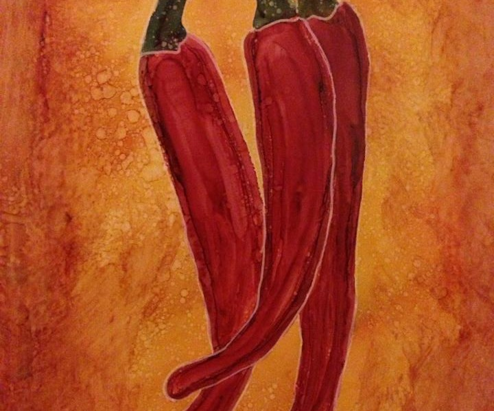 Day 186: Cayenne Peppers in Alcohol Ink on Yupo Paper