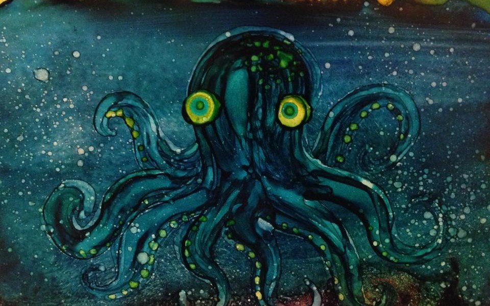 Day 188: Octopus in Alcohol Ink on Yupo Paper