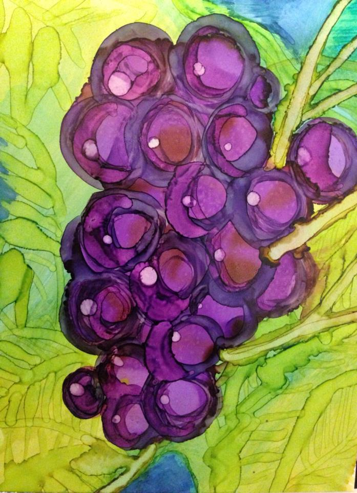Day 183: Grape Expectations in Alcohol Ink on YUPO Paper