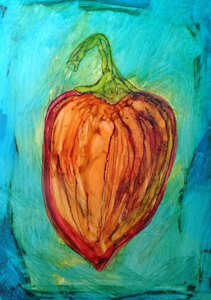 Day 184: Habanero Love in Alcohol Ink on YUPO Paper