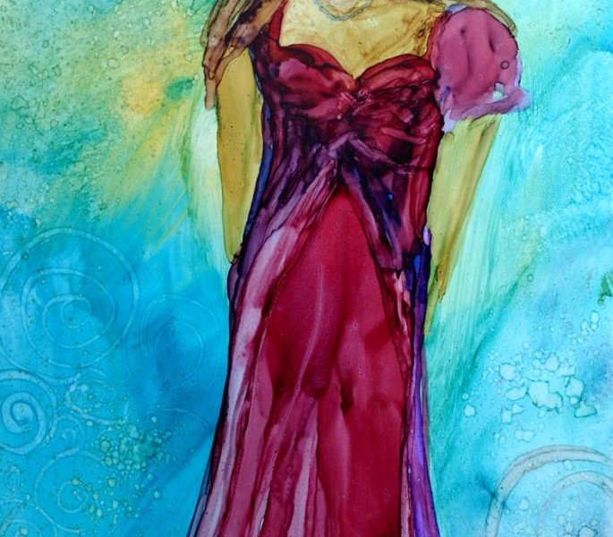Day 191: She Dances Alone in Alcohol Ink on Yupo Paper