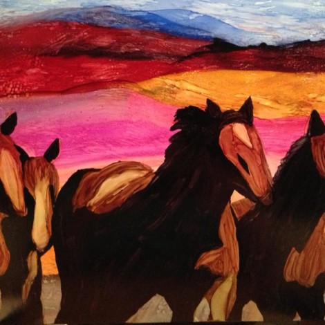 Day 202: Wild Horses in Alcohol Ink on Yupo Paper