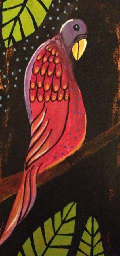 Day 211: Tropical Bird in Acrylic on Canvas