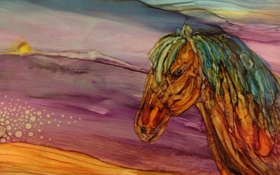 Day 245: Wild Horse Meadow in Alcohol Ink on Yupo Paper