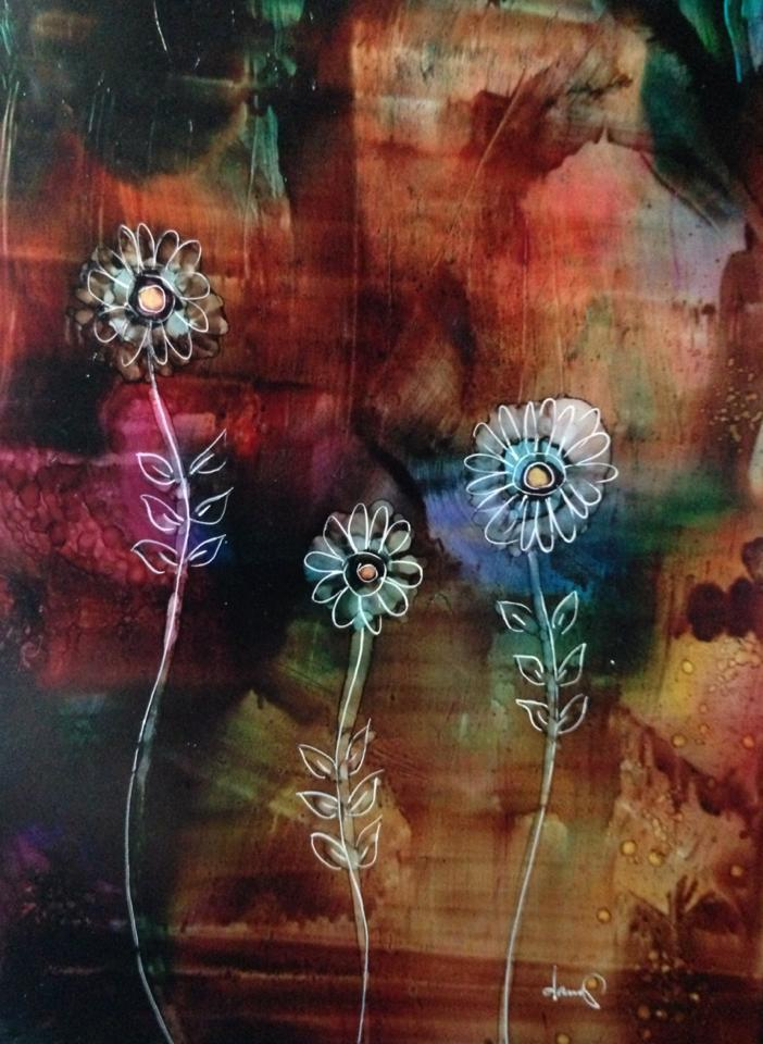 Day 246: Brooding Flowers in Alcohol Ink on Yupo Paper