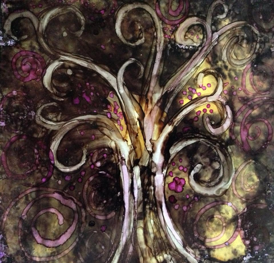Day 248: Fantastical Tree in Alcohol Ink on Yupo Paper