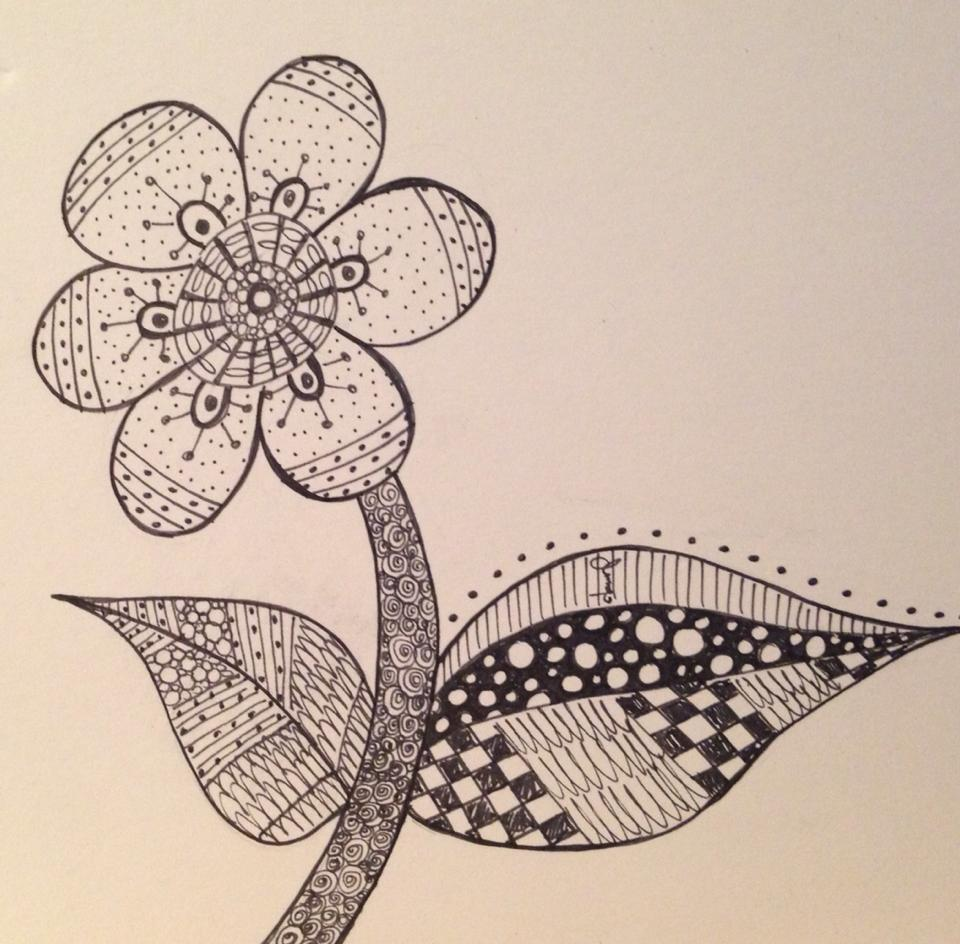 Day 252: Springtangle in Sharpie on Bristol Board