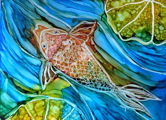 Day 256: Koi Solo in Alcohol Ink on Yupo Paper