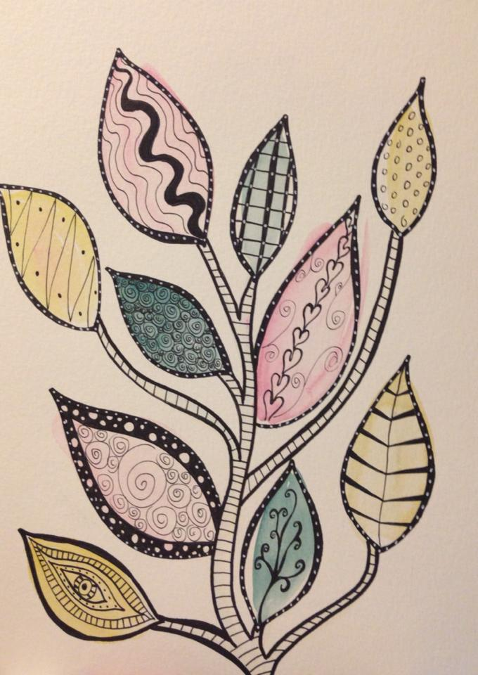 Day 260: Leaf Tree in Watercolor and Sharpie on Watercolor Paper
