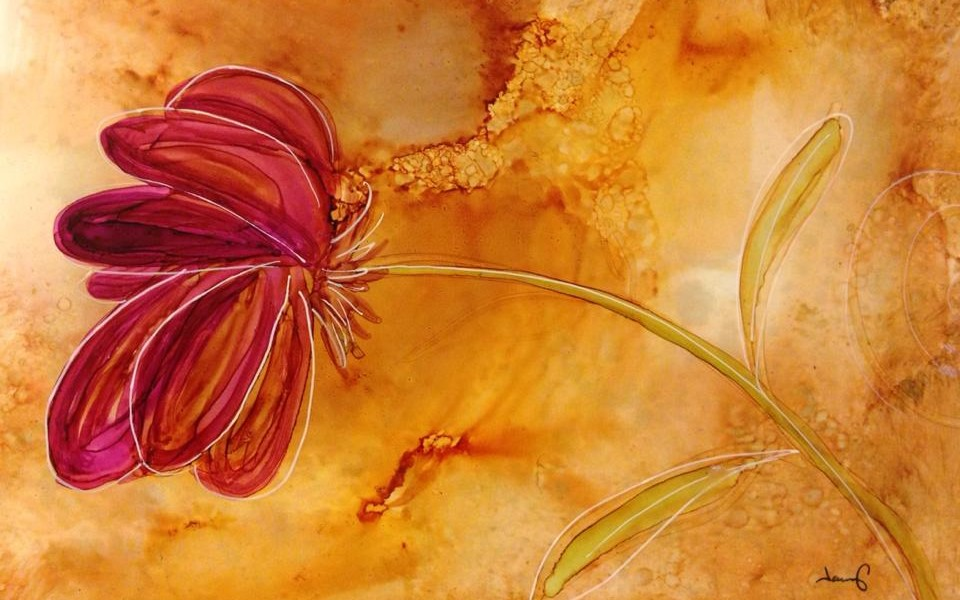 Day 261: Take A Bow in Alcohol Ink on Yupo Paper