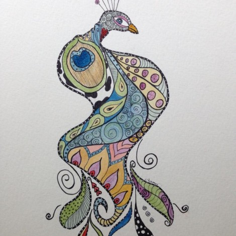 Day 264: Pretty As A Peacock in Sharpie and Watercolor on Watercolor Paper
