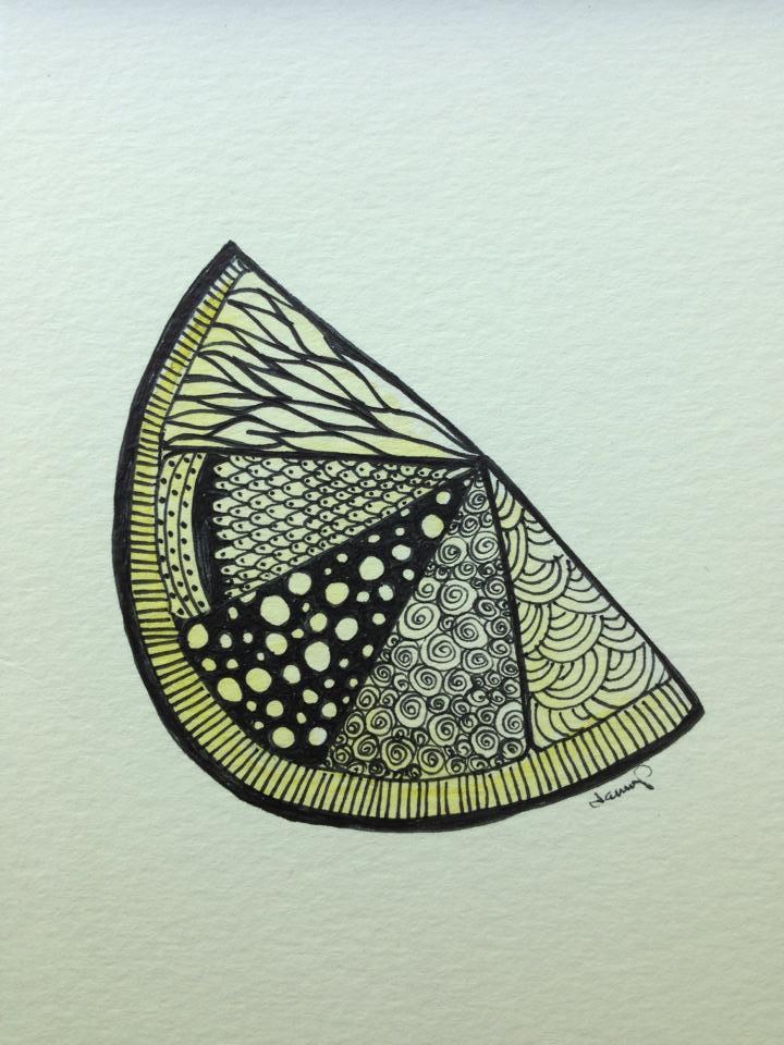 Day 266: Lemon Zen in Watercolor and Sharpie on Watercolor Paper