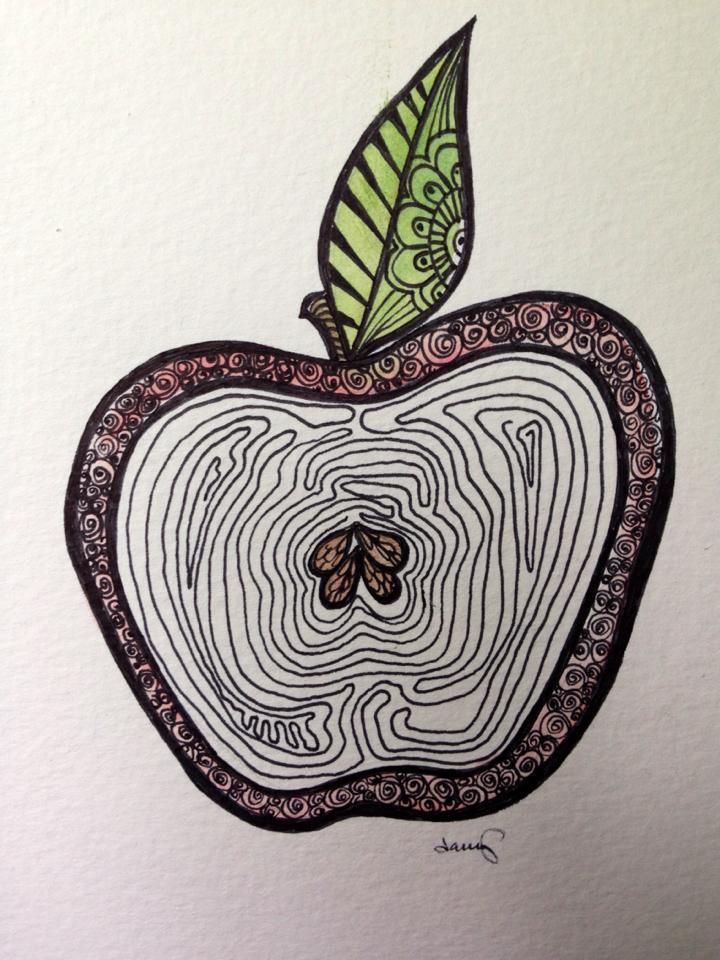 Day 267: Apple Zen in Watercolor and Sharpie on Watercolor Paper