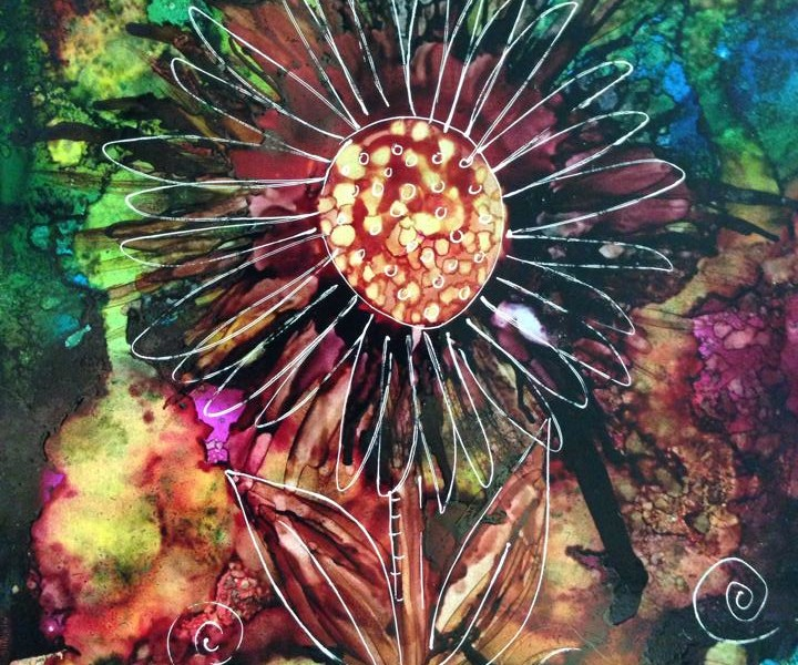 Day 272: Mystic Flower in Alcohol Ink on Yupo Paper