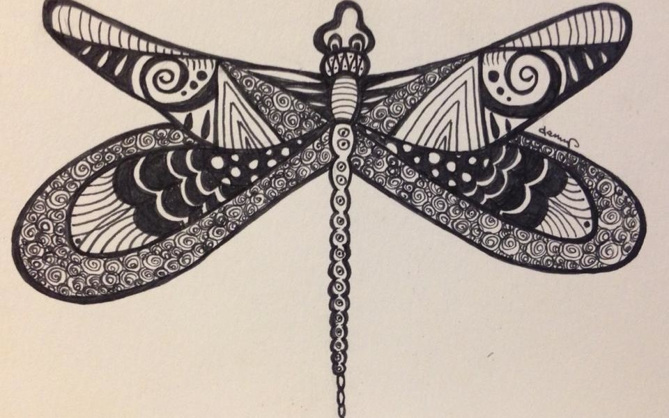 Day 273: Enter the Dragonfly in Sharpie on Bristol Board