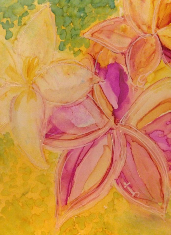 Day 282: Janice's Garden in Alcohol Ink on Yupo Paper