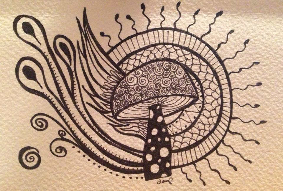Day 284: Shroomtopia in Sharpie on Watercolor Paper