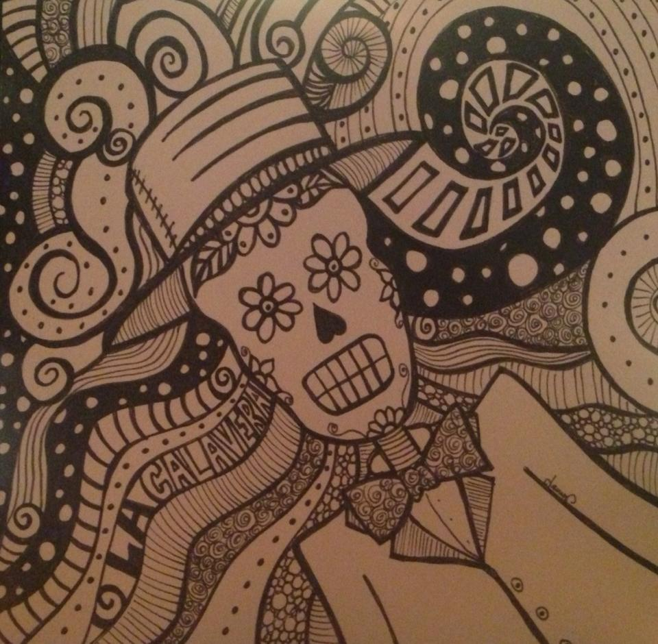 Day 285: La Calavera in Sharpie on Bristol Board