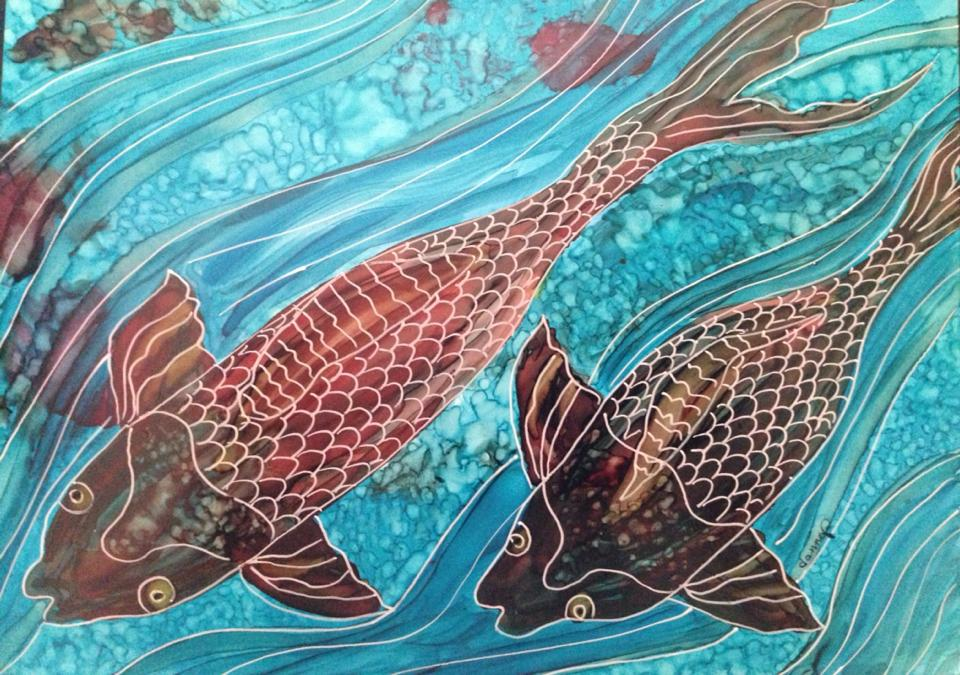 Day 288: Two Koi in Alcohol Ink on Yupo Paper