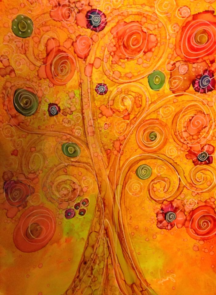Day 289: Fruity Tree in Alcohol Ink on Yupo Paper