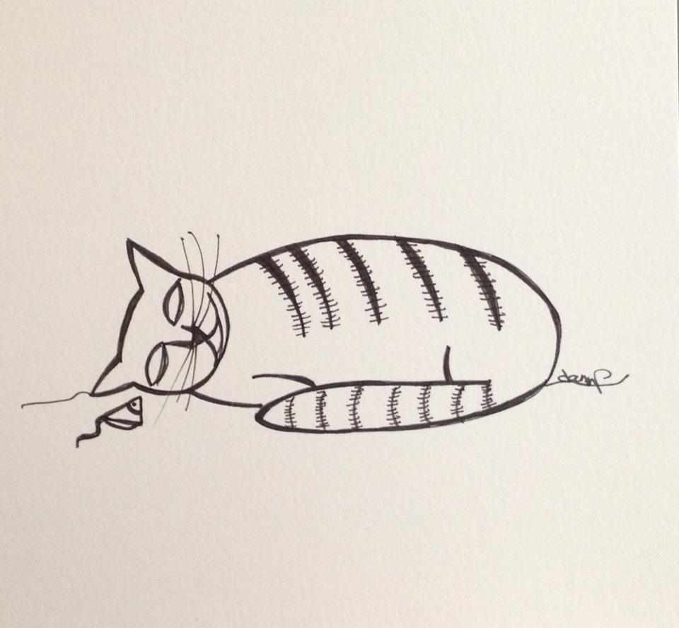 Day 292: Resting Kitty in Sharpie on Bristol Board