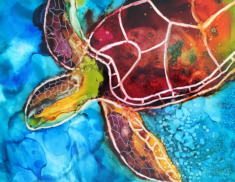 Turtle On the Move 8x10 Alcohol Ink on Yupo